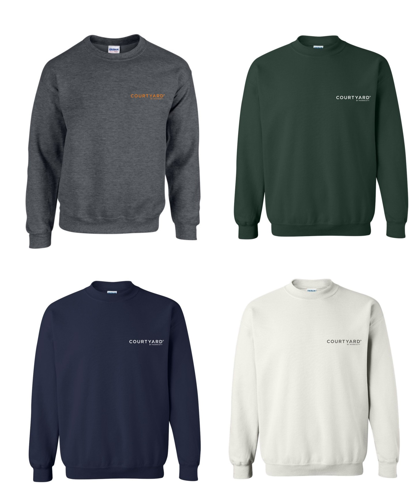 Sweatshirts, Crewneck.  50/50 Heavy Blend - Dark Heather, Hunter Green, Navy Blue and White.