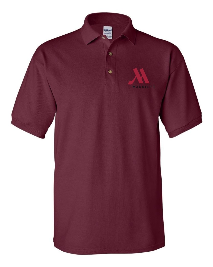 Polo Shirts, Maroon - Beautiful Pique Knit - 100% Cotton - Embroidered logo