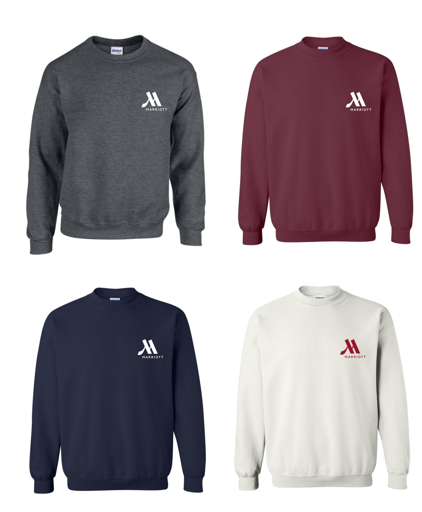 Sweatshirts, Crewneck.  50/50 Heavy Blend - Dark Heather, Maroon, Navy Blue and White.