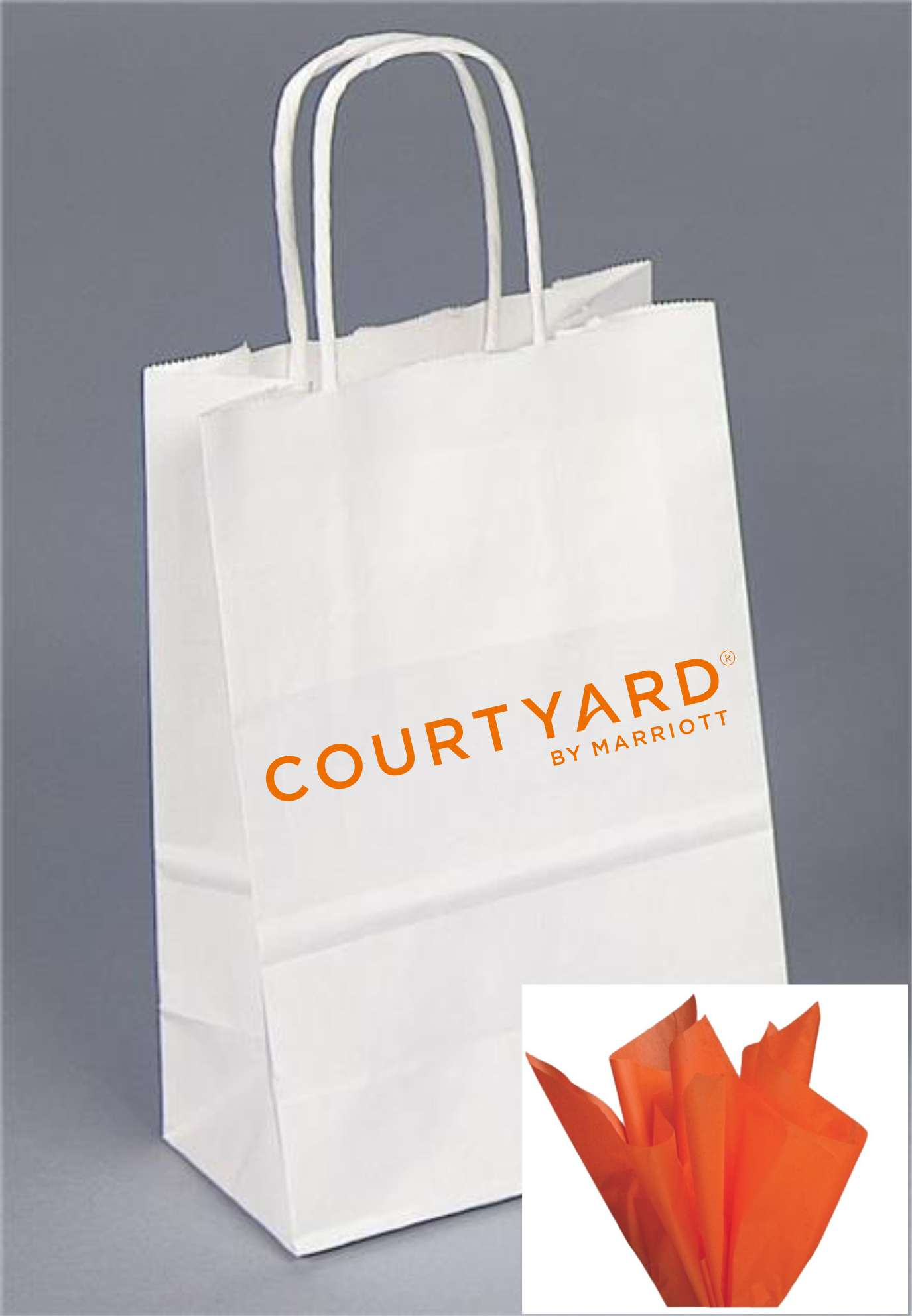 Gift Bags with Rope Handle - A Courtyard logo that really stands out from the crowd! - INCLUDES orange tissue paper with every gift bag!