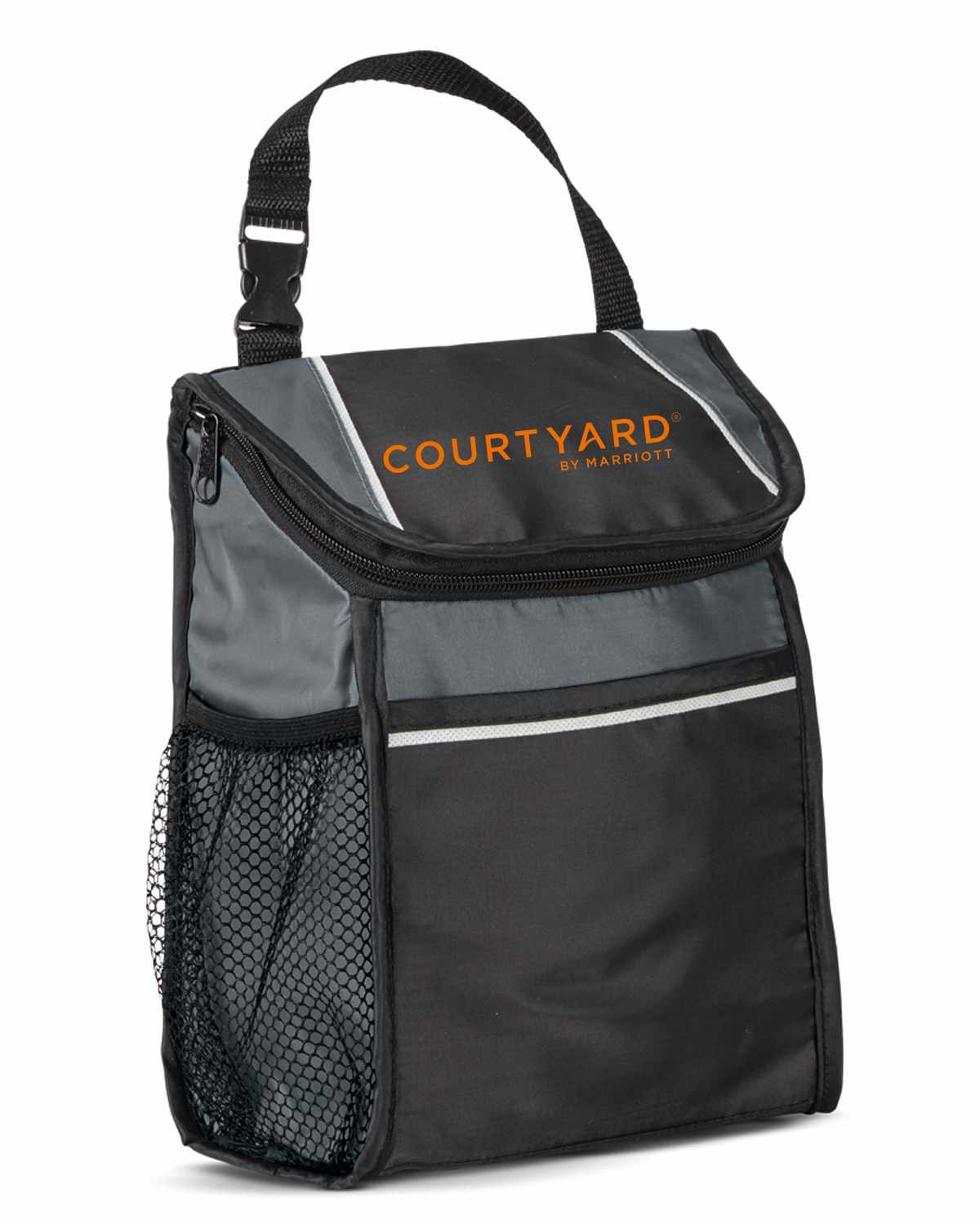 "Lunch Cooler with Thermal Lining. 9""L x 10""H x 3.5""W - 6 Can Capacity - Zippered Closure - Front Pocket - Side Mesh Watter Bottle Pocket - Removable I.D. Tag - Phthalate and PVC Free"