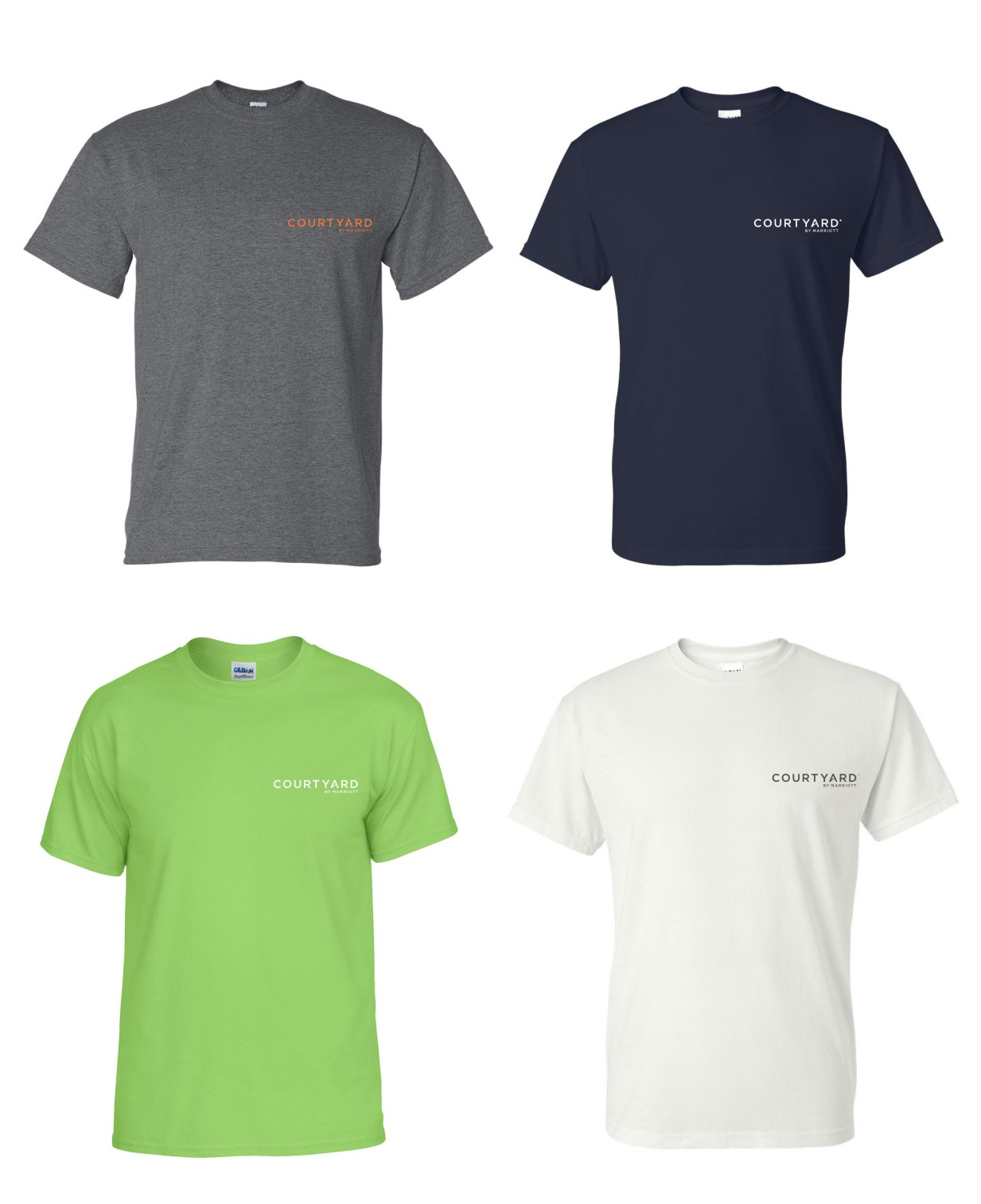 T-Shirts.  Heavyweight, 50/50.  Dark Heather, Navy Blue, Lime Green and White.