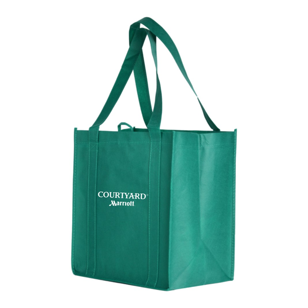 Eco-Friendly Bags with Gusset Insert. Dark Green.