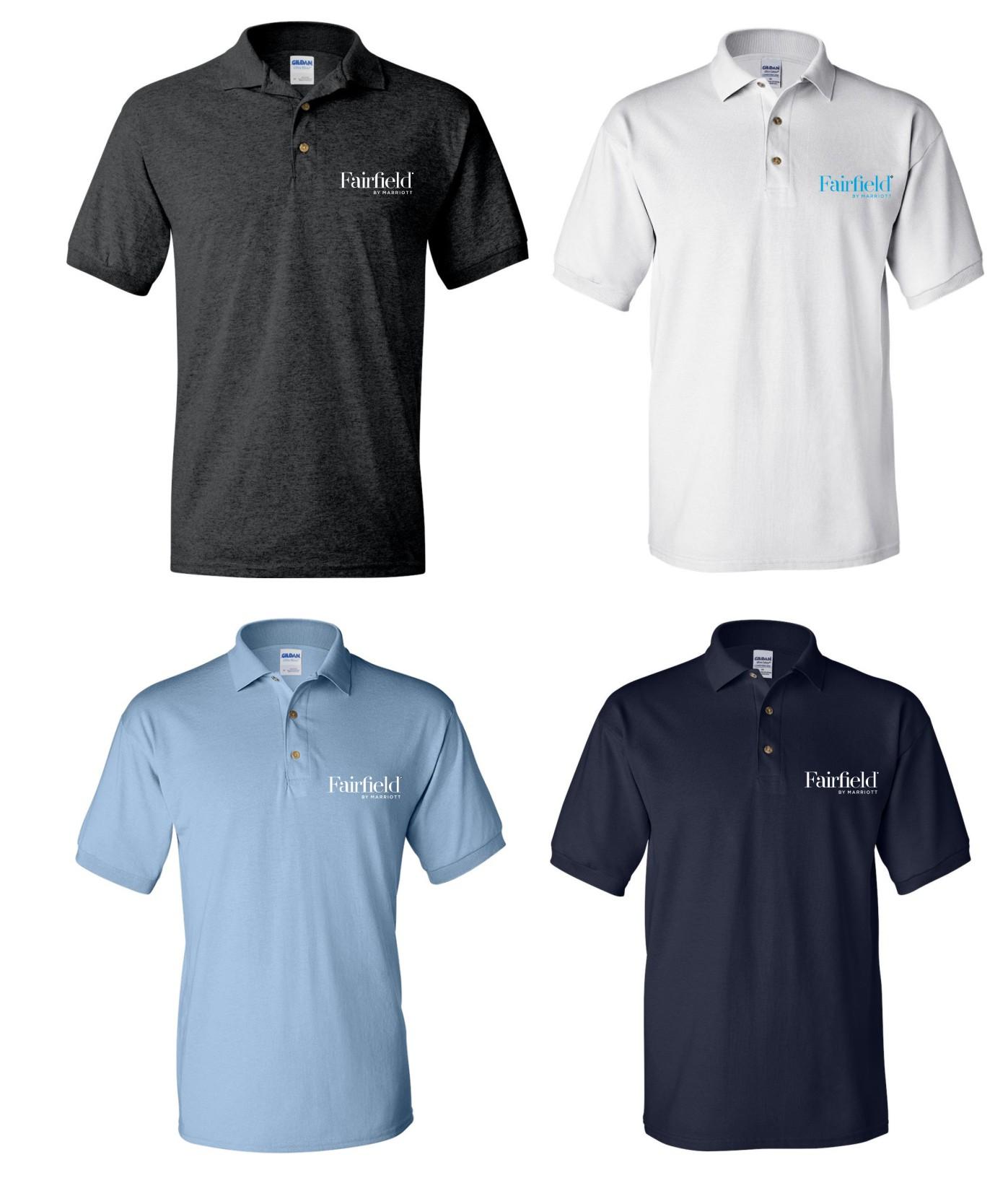 Polo Shirts. Dark Heather, White, Light Blue and Navy Blue. - Silk-Screen Logo - DryBlend Fabric 50/50 - 3-Button Placket - Knitted Collar/Cuffs