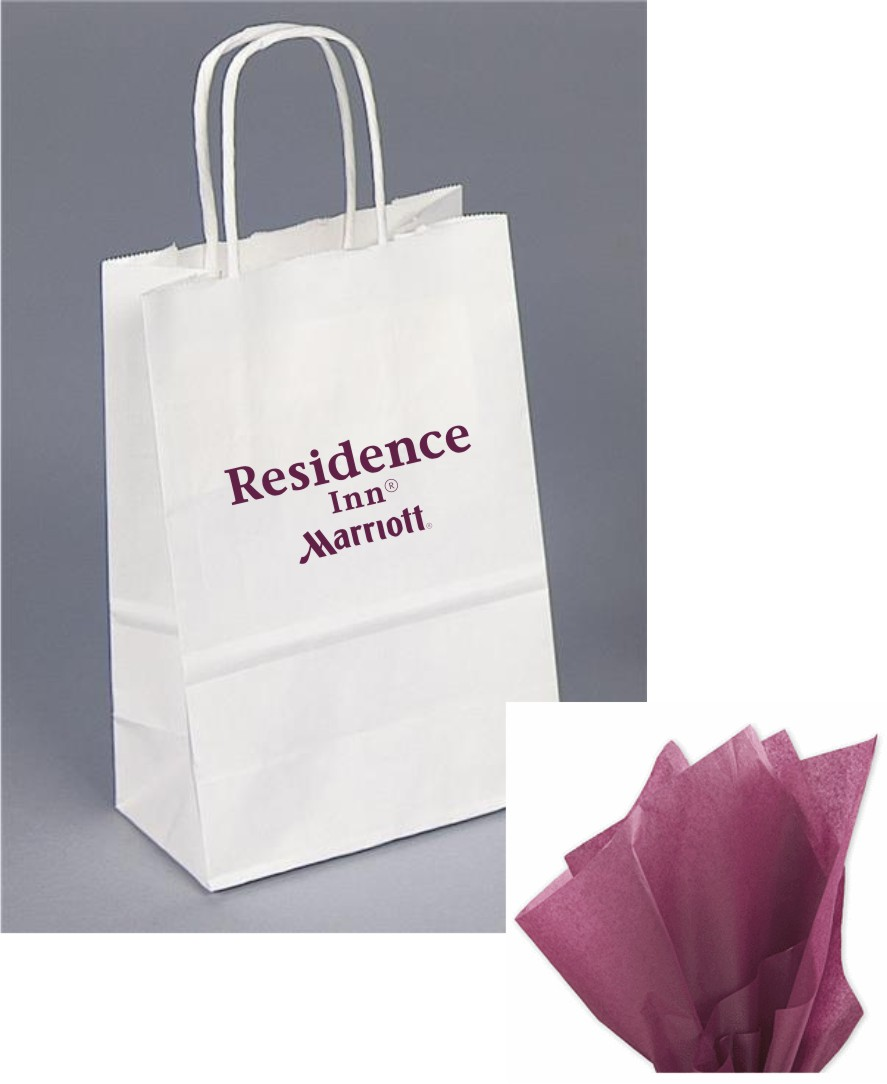 Paper Gift Bags - Burgundy Tissue paper included - Rope handle.