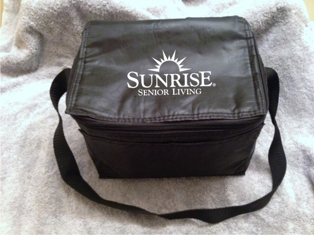 "Hot/Cold Bags, Insulated. 6"" H x 9"" W. - Pocket Outside - Zippered Top - Adjustable Strap"