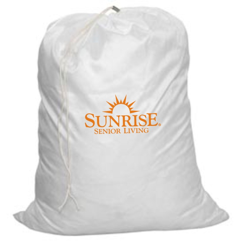 "Laundry Bags. 28"" H x 22"" W. White with Drawstring"