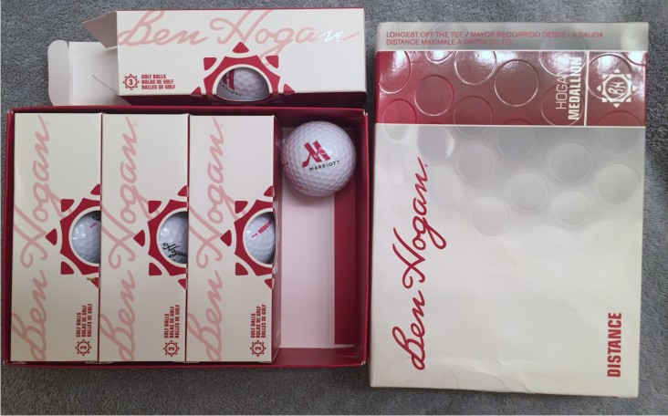 Golf Balls, 1 Dozen - 2 Color Marriott Logo - 4 Sleeves (3 Balls per Sleeve).  Great Golf-Outing Giveaway!