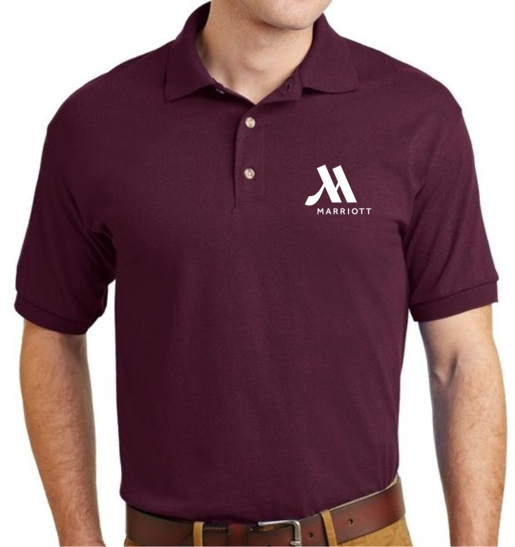 Polo Shirt, Burgundy - Silk-Screen Logo - DryBlend Fabric 50/50 - 3-Button Placket - Knitted Collar/Cuffs