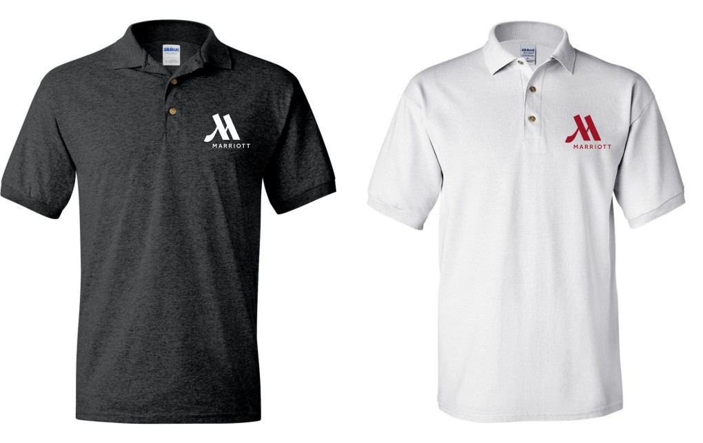 Polo Shirts, Dark Heather & White. - Silk-Screened Logo - DryBlend Fabric 50/50 - 3-Button Placket - Knitted Collar & Cuffs