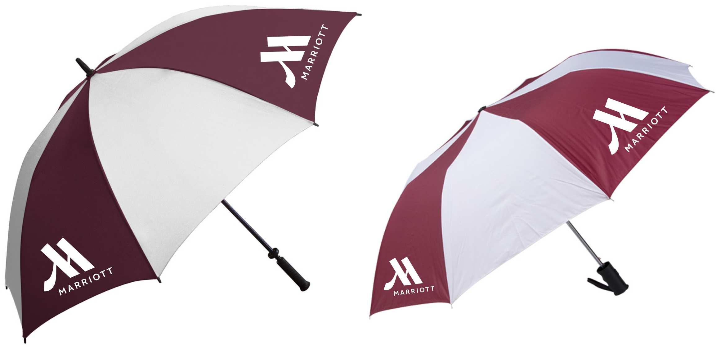 """62"""" Golf/Gatehouse Umbrellas + 42"""" Auto-Open Umbrellas.  2 LOGOS on each umbrella!"""