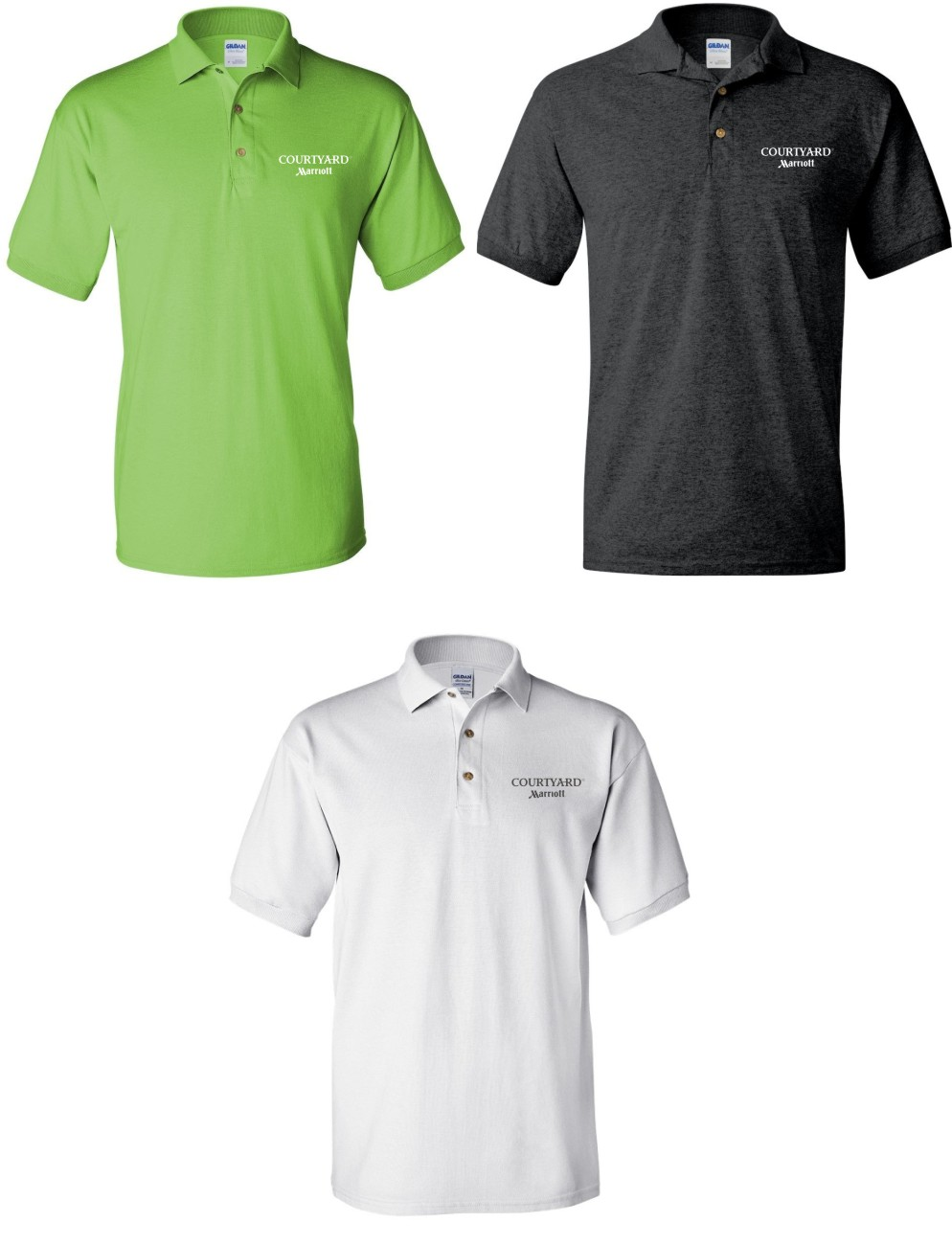 Polo Shirts. (Lime Green, Dark Heather or White) Screened Logo. DryBlend Fabric 50/50 - 3-Button Placket - Knitted Collar/Cuffs
