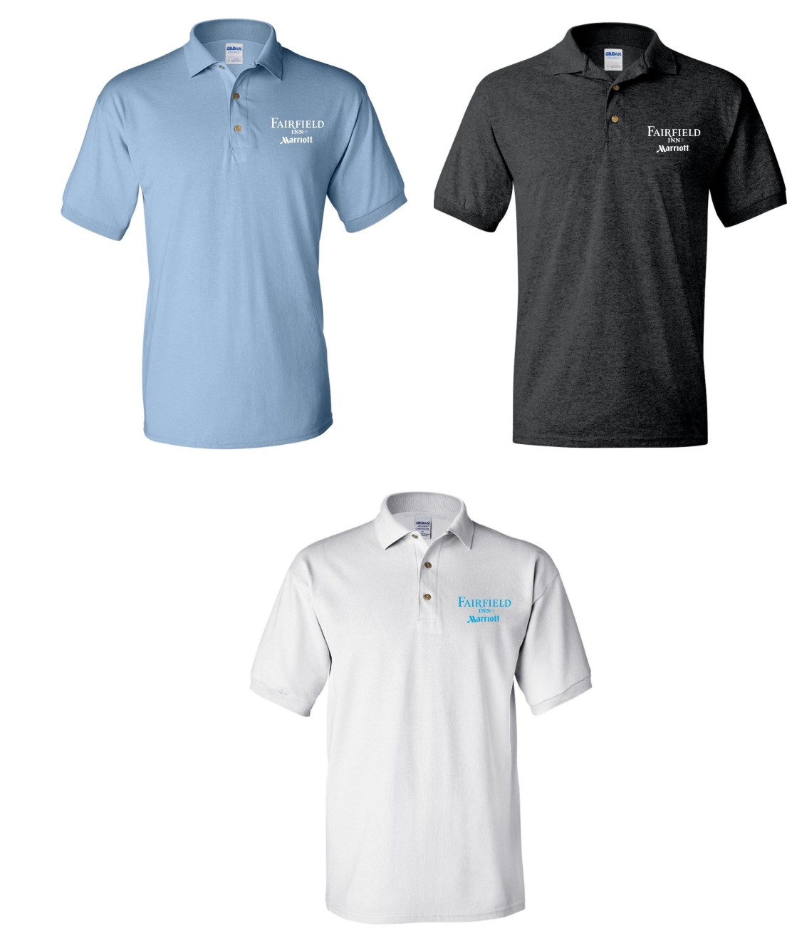 Polo Shirts. (Light Blue, Dark Heather and White)   Screened Logo.  DryBlend Fabric 50/50 - 3-Button Placket - Knitted Collar/Cuffs