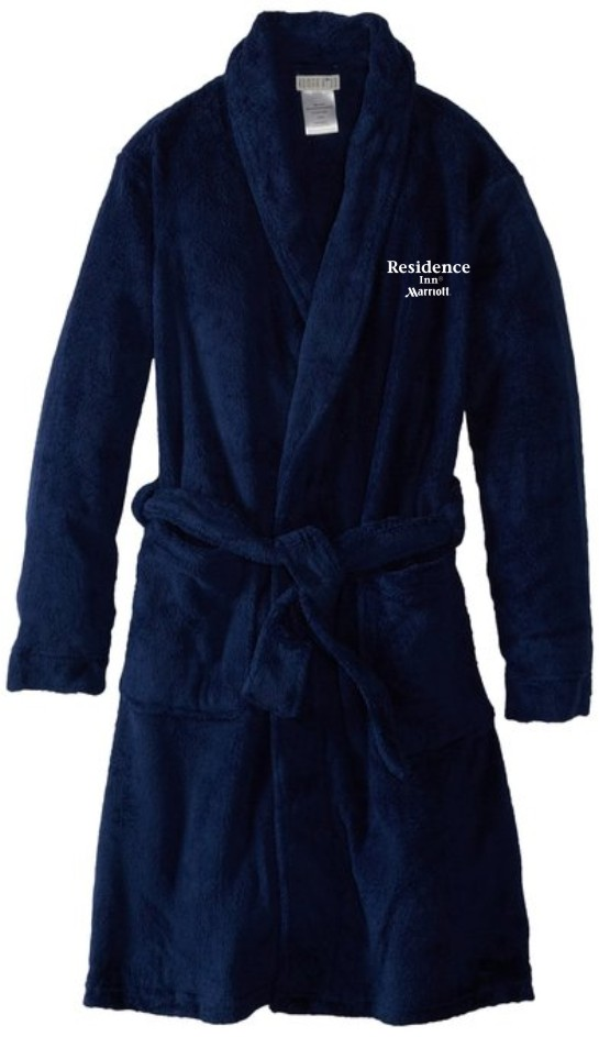 Luxurious and Plush Navy Velour Bathrobes with Embroidered logo. 1-Size Fits All.