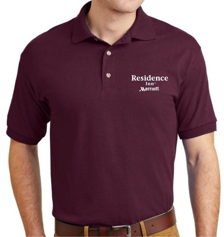 Polo Shirt, Burgundy. - Silk-Screen Logo - DryBlend Fabric 50/50 - 3-Button Placket - Knitted Collar/Cuffs