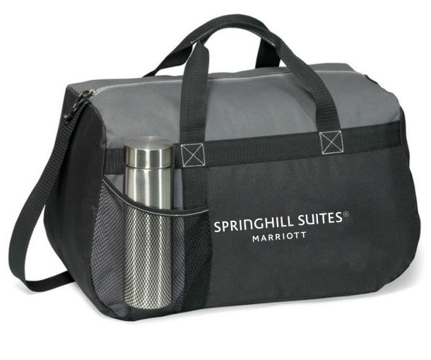 """Heavy Duty Sport Bag - 18""""L x 11""""H x 9""""W - Made of strong 600-denier polyester - Front mesh water bottle pocket - Zippered top with cord pull and shoulder strap"""
