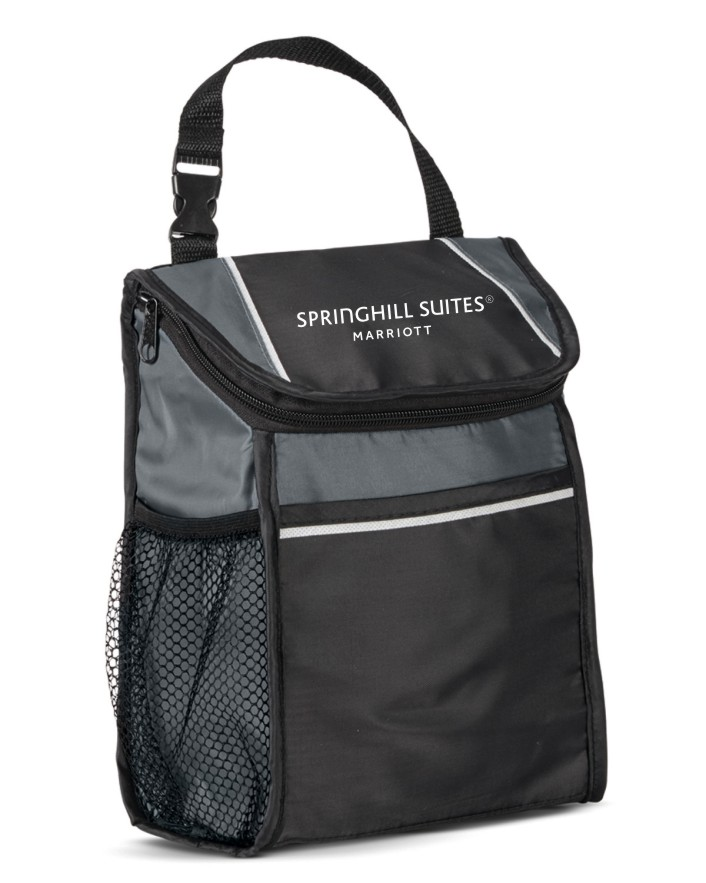 """Insulated Lunch Cooler. - 8.75""""L x 10""""H x 3.5""""W. - Zippered Top - Front Pocket - Side Mesh Water Bottle Pocket - Additonal colors available"""