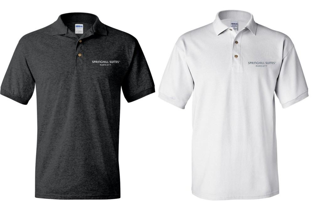 Polo Shirts.  Screened Logo.  DryBlend Fabric 50/50 - 3-Button Placket - Knitted Collar/Cuffs