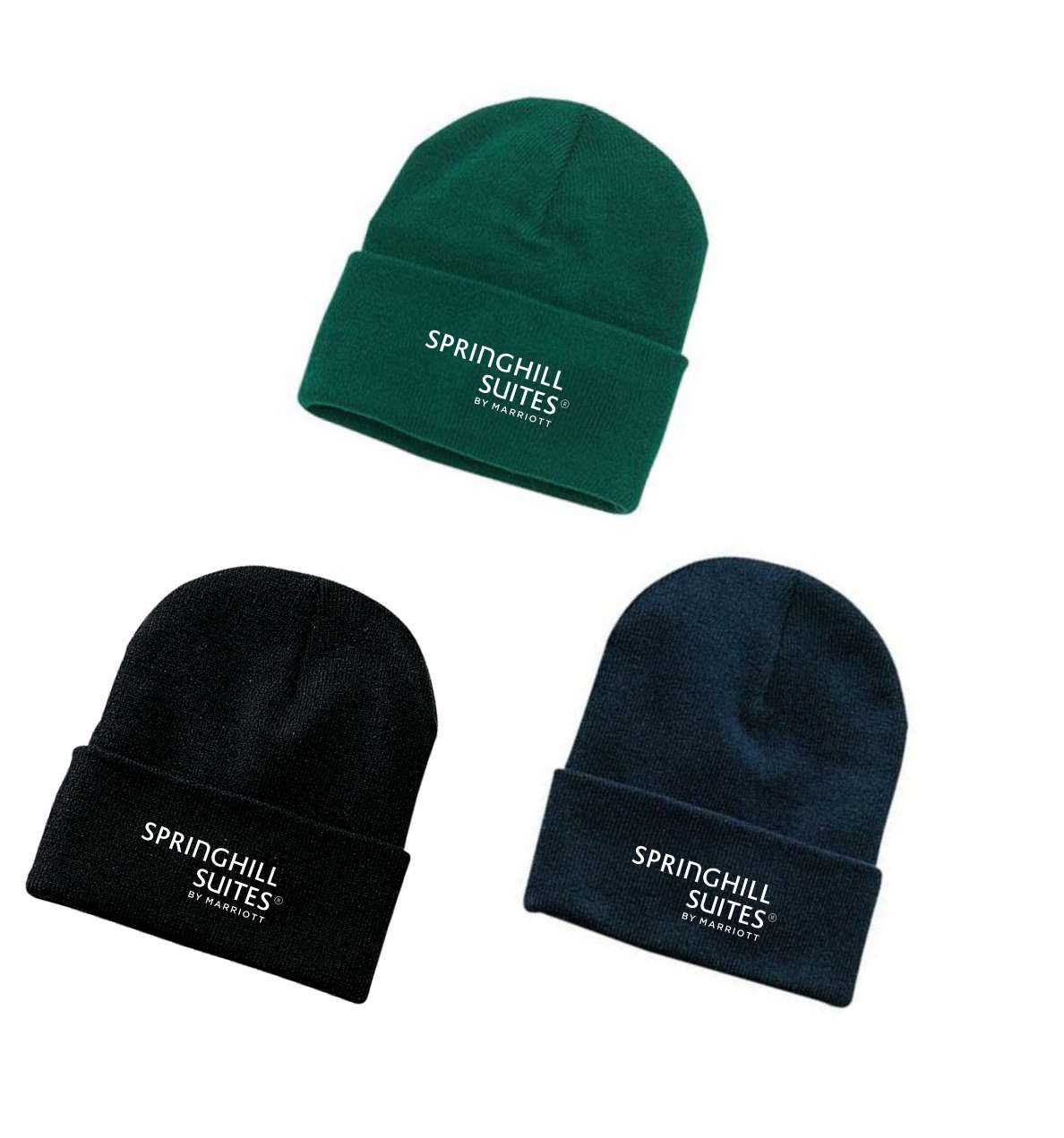 Ski Hats, Knitted. Green, Black or Navy Blue - 1 Size Fits All - 100% Acrylic