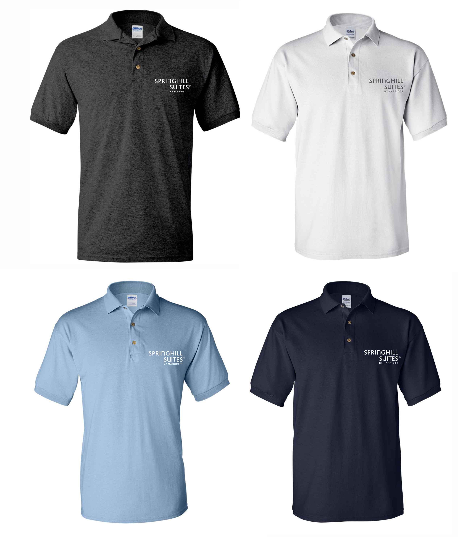 Polo Shirts.  Dark Heather, White, Light Blue or Navy Blue - Silk-Screen Logo - DryBlend Fabric 50/50 - 3-Button Placket - Knitted Collar/Cuffs