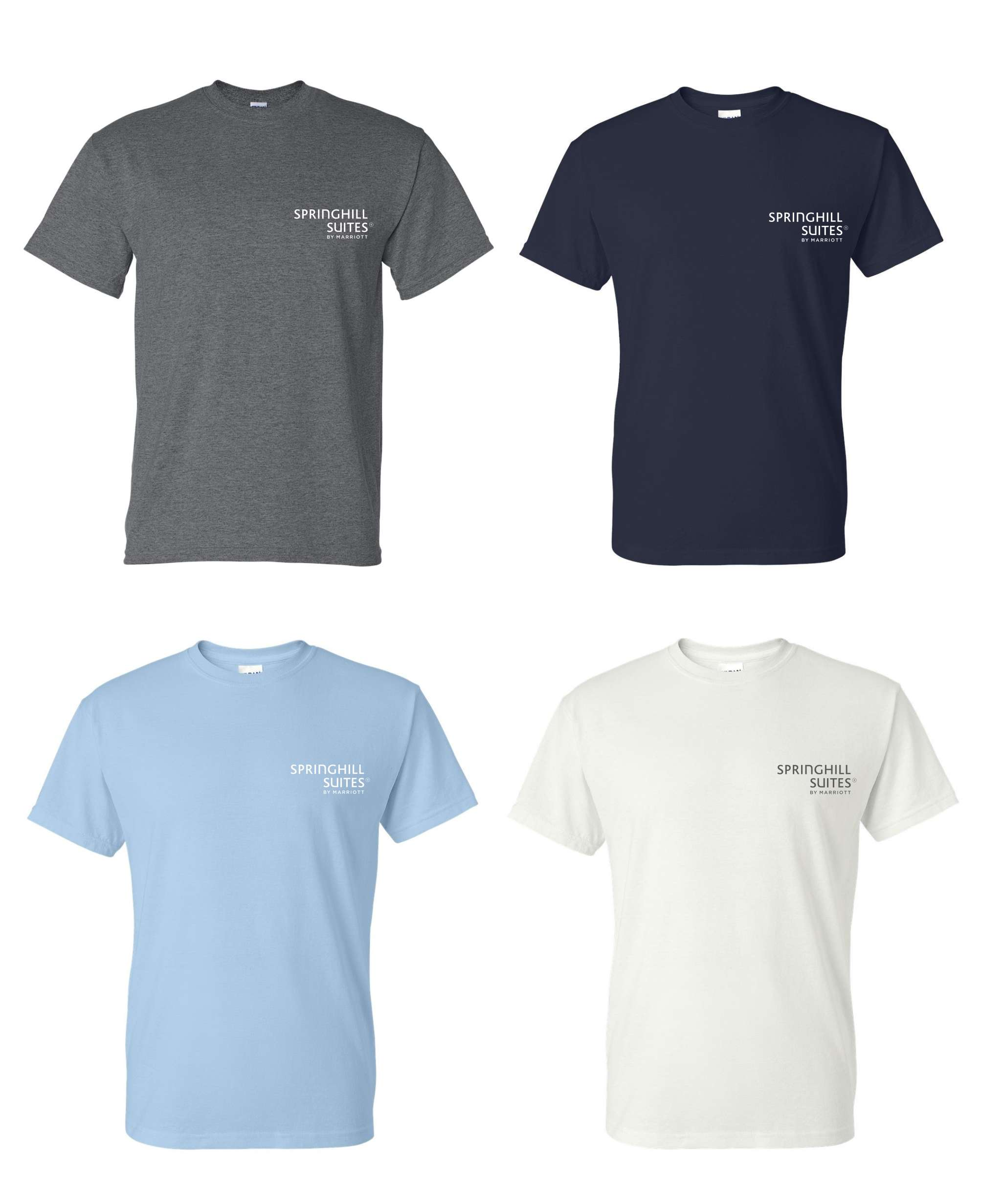 T-Shirts. Heavyweight, 50/50.  Dark Heather, Navy Blue, Light Blue or White