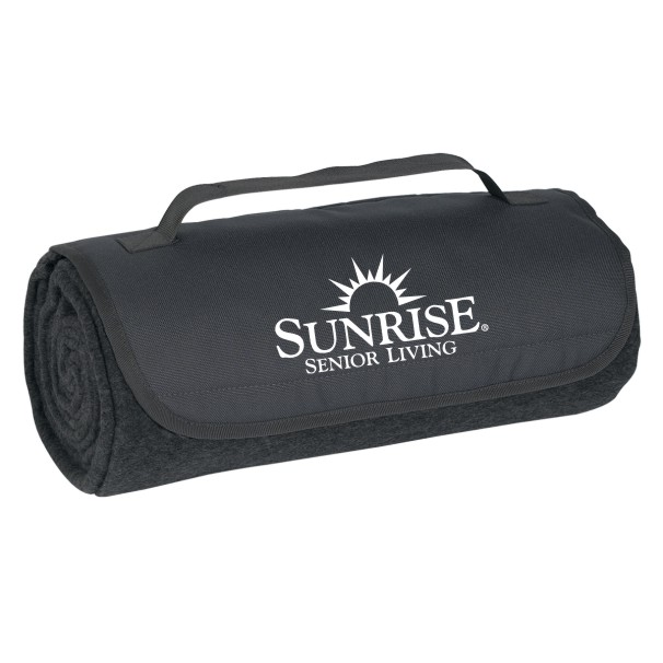 "Roll-Up Blankets, Charcoal. Large 48"" x 53"" 100% Poly Fleece - Velcro Closure and Carrying Strap"