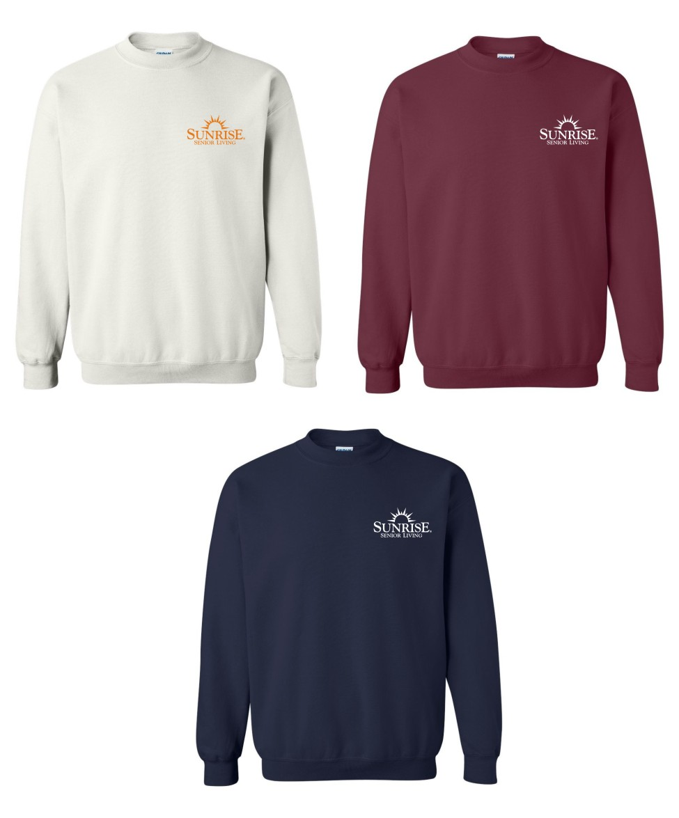 Sweatshirt, Crewneck.  White, Maroon and Navy Blue.   - Additional colors may be available, please ask!