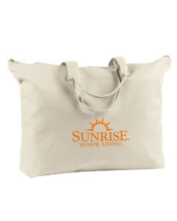 """Canvas Tote Bags (Natural) - 22"""" x 15"""" - Zipper at top - Zippered inside pocket!"""