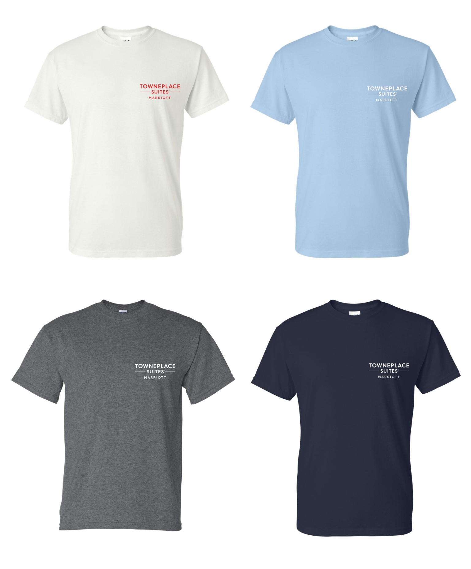 T-shirts, Heavyweight 50/50.  White, Light Blue, Dark Heather and Navy Blue.