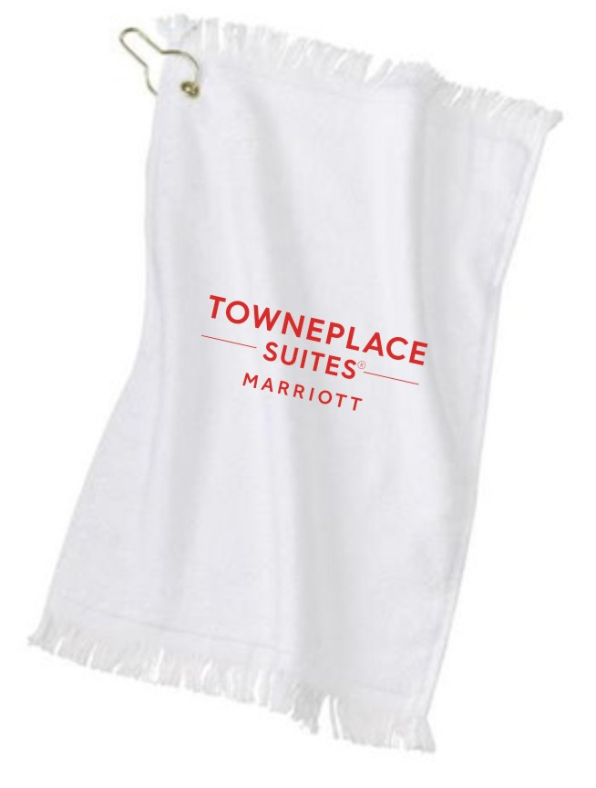 "Golf Towels - 11"" x 17"" - 100% Cotton Terry Velour - Gold Grommet Hook"