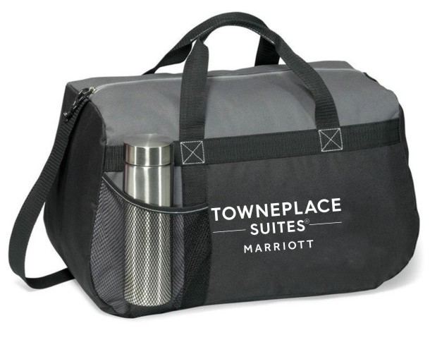 "Heavy Duty Sport Bag - 18""L x 11""H x 9""W - Made of strong 600-denier polyester - Front mesh water bottle pocket - Zippered top with cord pull and shoulder strap"