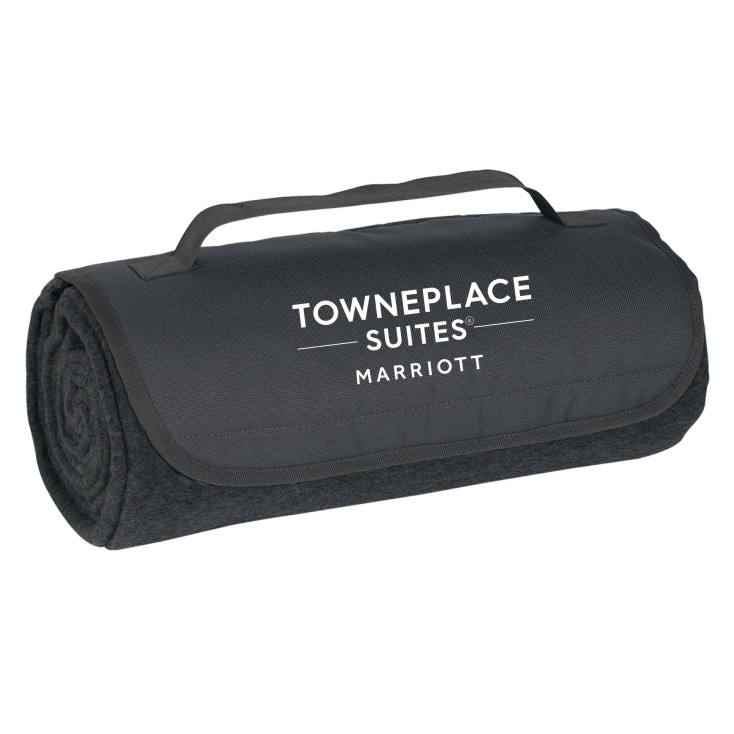 "Roll-Up Blankets, Charcoal.  Large 48"" x 53"" 100% Poly Fleece - Velcro Closure & Carrying Strap"