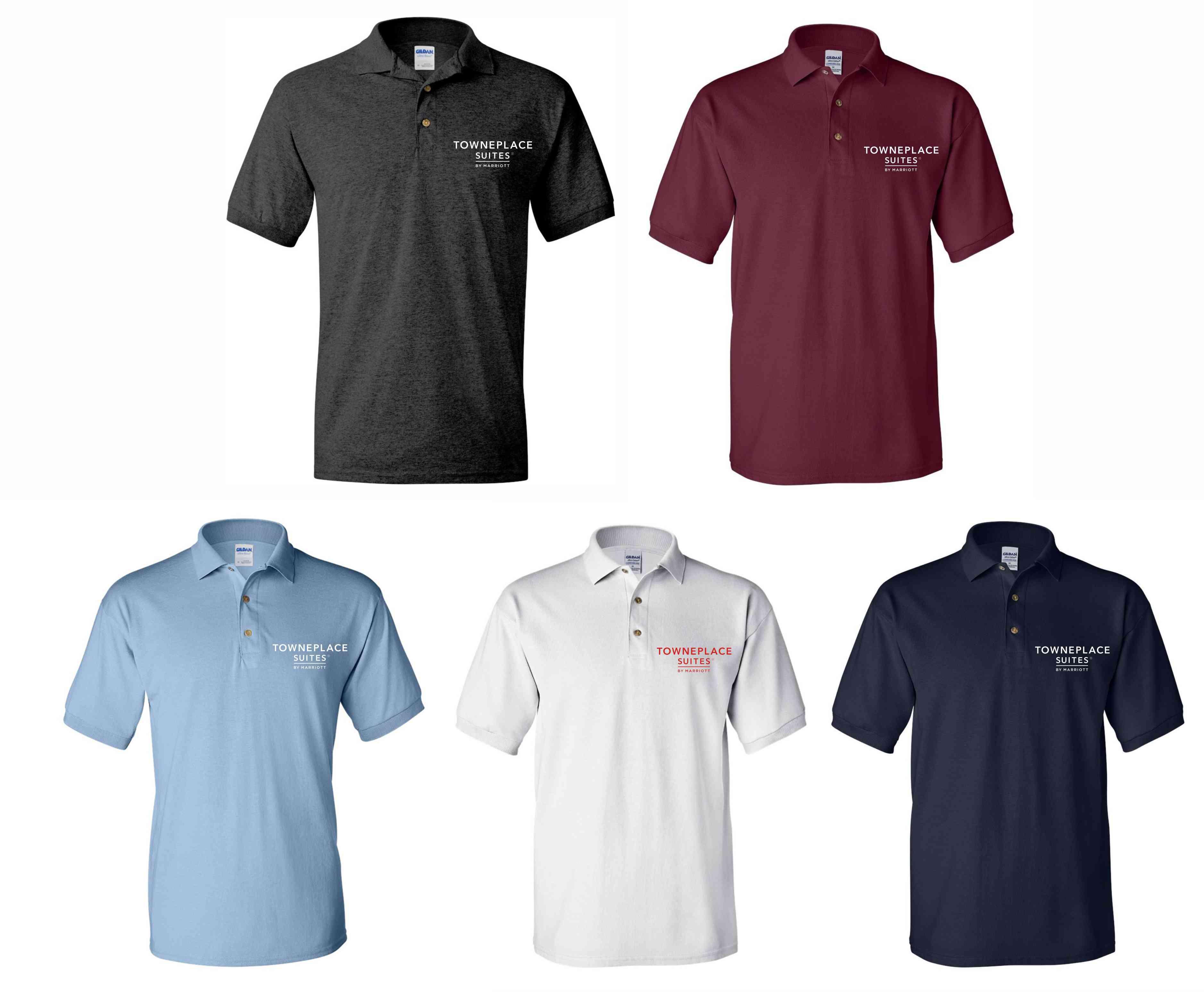 Polo Shirts. Dark Heather, Maroon, Light Blue, White and Navy Blue. - Silk-Screen Logo - DryBlend Fabric 50/50 - 3-Button Placket - Knitted Collar/Cuffs