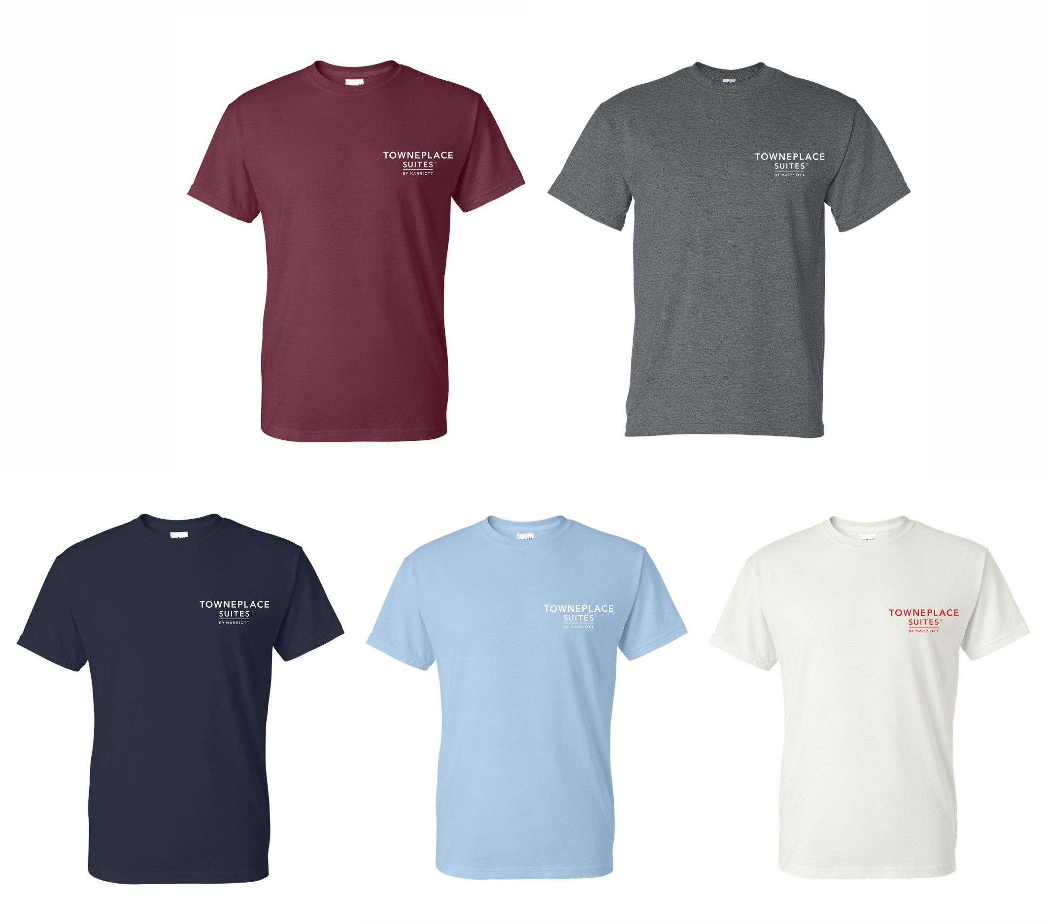 T-Shirts. Heavyweight, 50/50. Maroon, Dark Heather, Navy Blue, Light Blue and White.