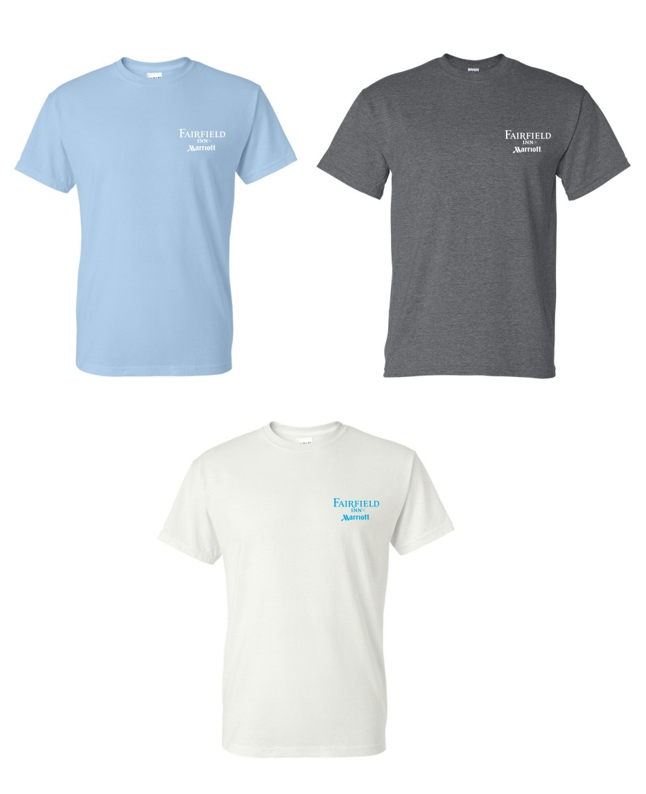 T-Shirts.  (Light Blue, Dark Heather and White) Heavyweight, 50/50