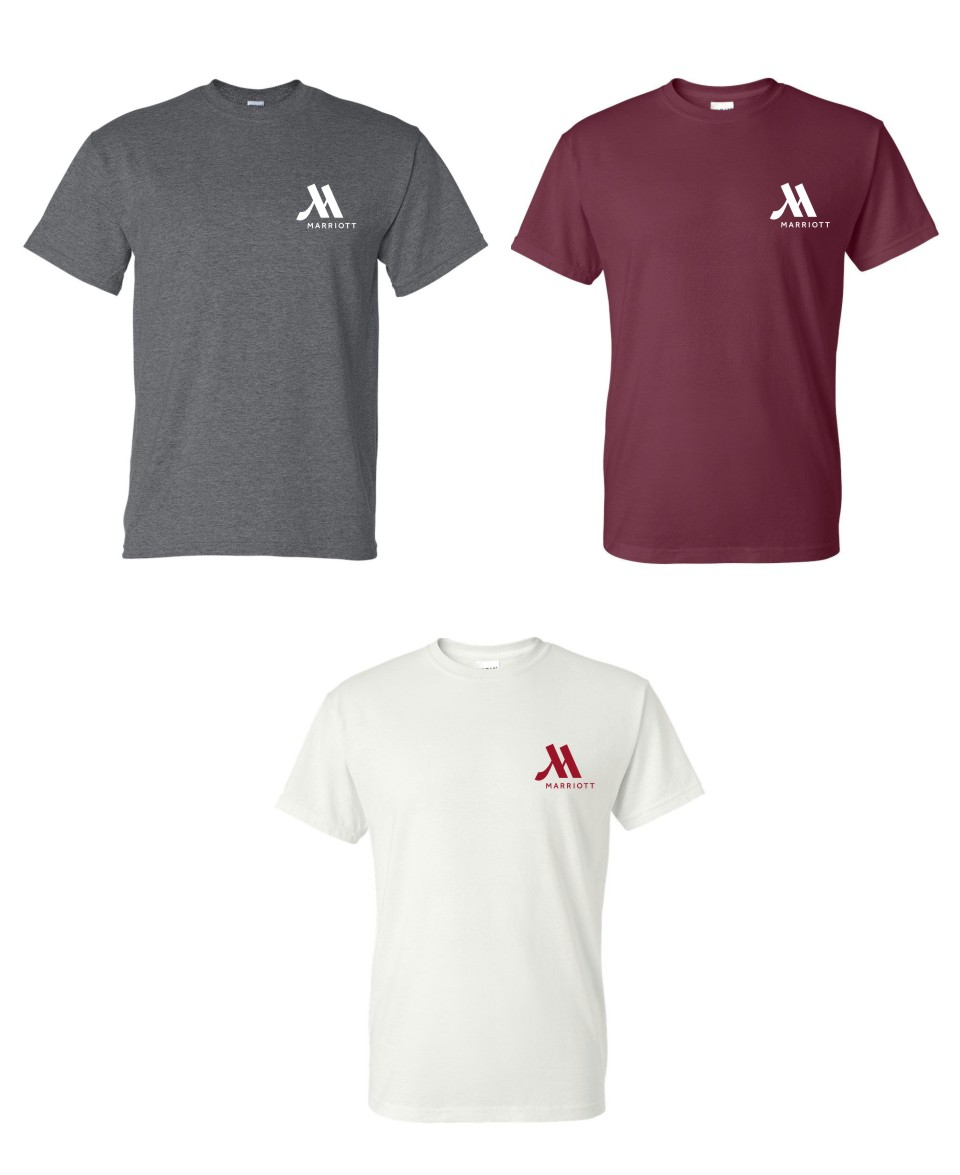 T-shirts.  (Dark Heather, Maroon and White)  Heavyweight 50/50.
