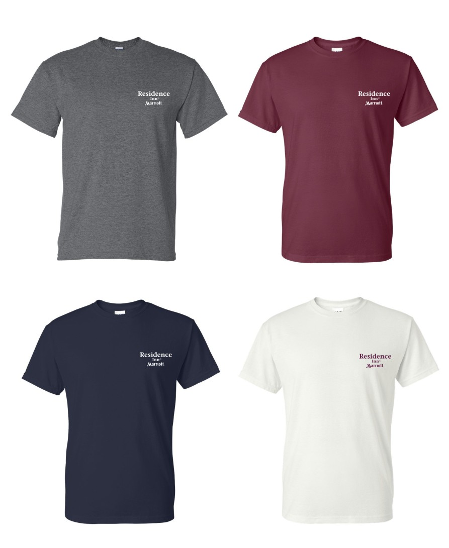 T-Shirts.  Heavyweight, 50/50.  Dark Heather, Maroon, Navy and White.